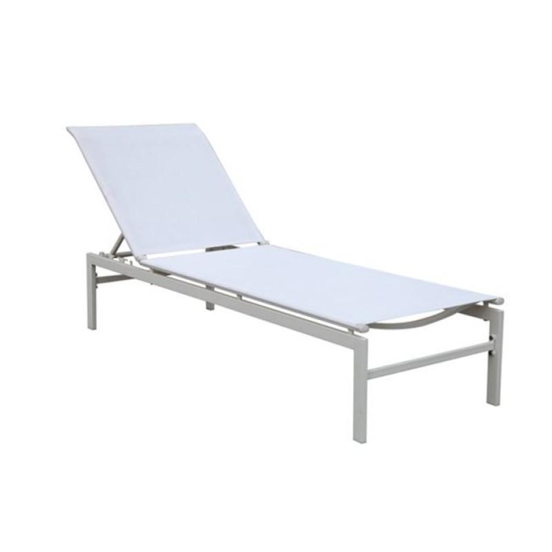 """Ξαπλώστρα """"SLING"""" μεταλλική-textilene σε λευκό χρώμα 60x190x34"""