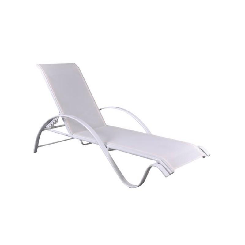"""Ξαπλώστρα """"NEXT"""" αλουμινίου-textilene σε λευκό χρώμα 67x194x29"""