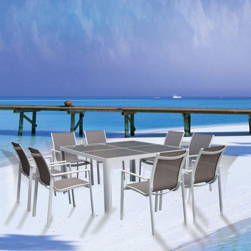 """Τραπέζι """"MANSON"""" αλουμινίου σε χρώμα λευκό με καφέ γυαλί 140x140x75"""