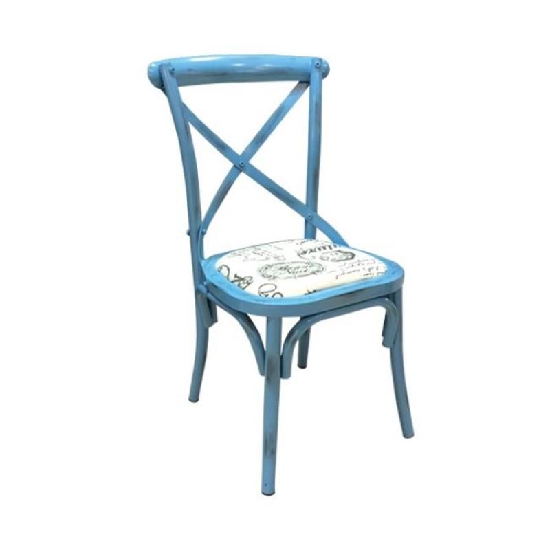 """Καρέκλα """"CROSS"""" μεταλλική σε χρώμα αντικέ μπλε 45x49x87"""