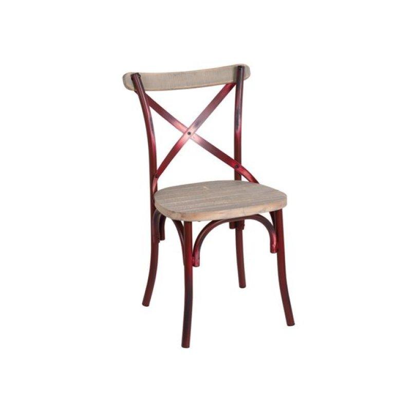 """Καρέκλα """"DESTINY"""" μεταλλική σε χρώμα αντικέ κόκκινο 50x52x89"""