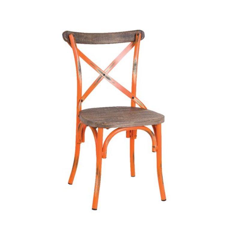 """Καρέκλα """"DESTINY"""" μεταλλική σε χρώμα αντικέ πορτοκαλί 50x52x89"""