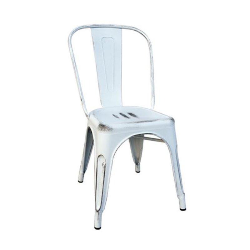 """Καρέκλα """"RELIX"""" μεταλλική σε χρώμα αντικέ λευκό 54x51x85"""