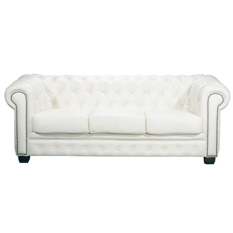 Καναπές τ. CHESTERFIELD τριθέσιος δερμάτινος σε χρώμα λευκό 201x92x72