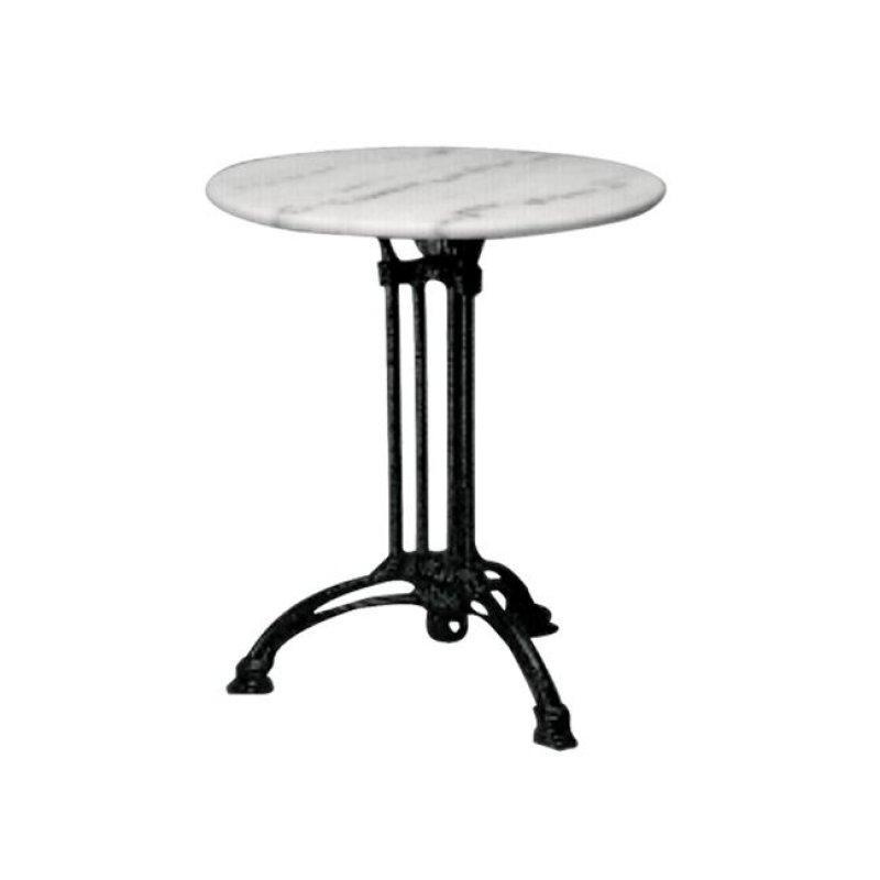 """Τραπέζι """"EKO"""" τρίνυχο με μαύρο σκελετό και μαρμάρινη επιφάνεια 60x74"""