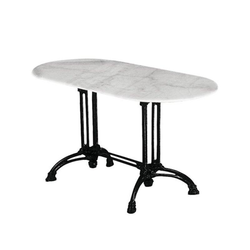 """Τραπέζι """"EKO"""" αίθριο οβάλ με μαύρο σκελετό και μαρμάρινη επιφάνεια 70x110x74"""