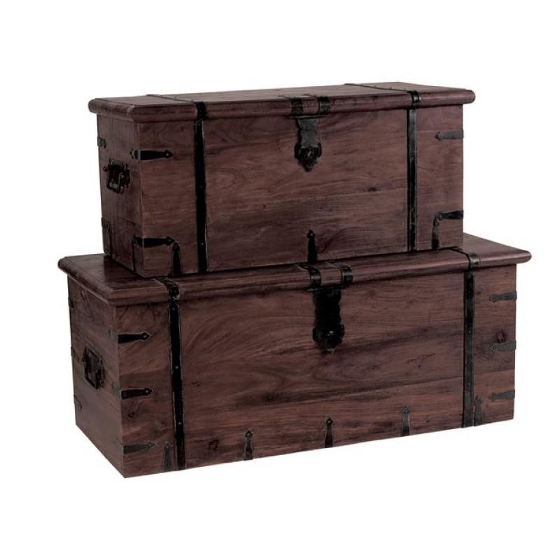 """Μπαούλο """"BOX Νο 2"""" σε χρώμα καρυδί 81x37x35"""