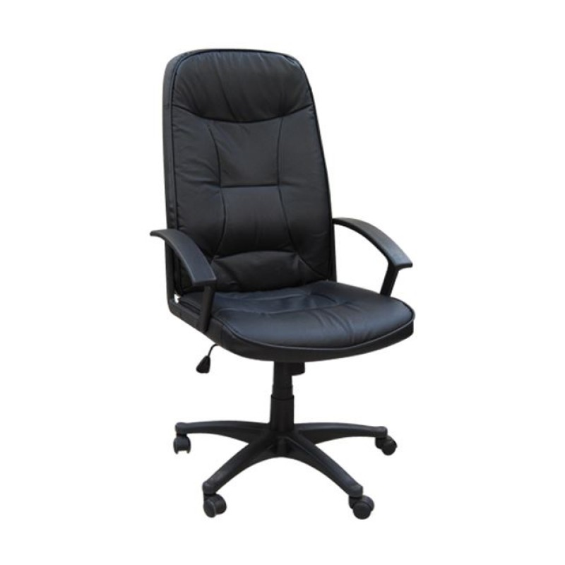 Πολυθρόνα διευθυντή από τεχνόδερμα σε μαύρο χρώμα 65x60x116/126