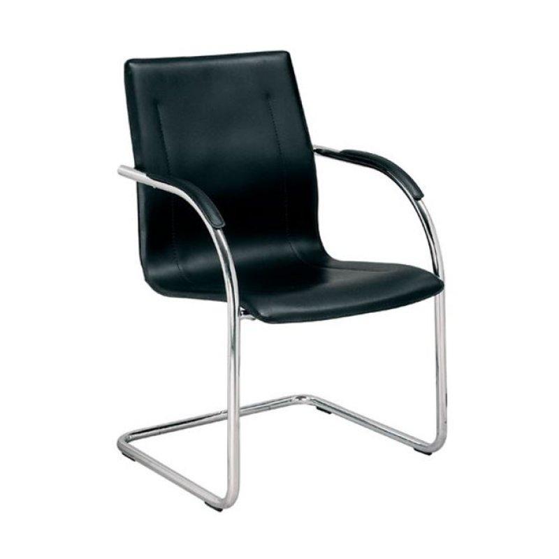 """Πολυθρόνα επισκέπτη """"OMIKRON"""" χρωμίου από τεχνόδερμα σε μαύρο χρώμα 56x60x91"""