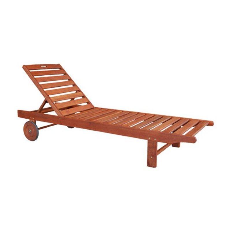 """Ξαπλώστρα """"LUGANO"""" ξύλινη keruing σε χρώμα καρυδί 65x196x32"""