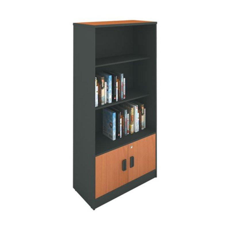 Βιβλιοθήκη σε χρώμα σκούρο γκρι με κερασί 80x40x172