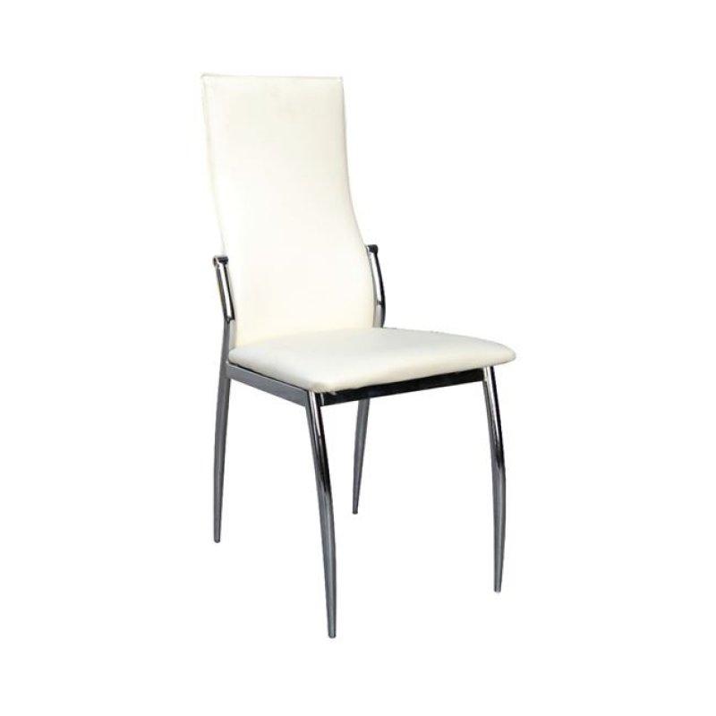 """Καρέκλα """"FRESH"""" χρωμίου-pvc σε εκρού χρώμα 42x55x96"""