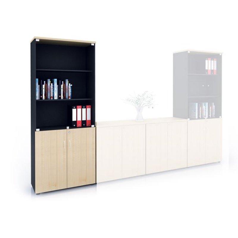Βιβλιοθήκη με γυάλινες πόρτες σε χρώμα φυσικό/οξυά 80x41x206