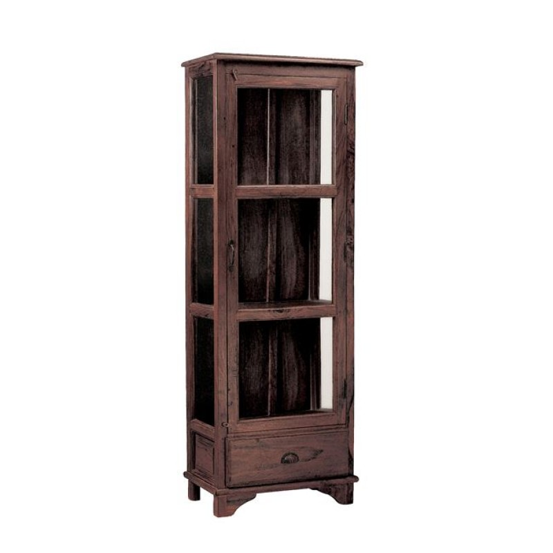 """Βιτρίνα """"TRIPLE"""" ξύλινη σε καρυδί χρώμα 54x33x149"""