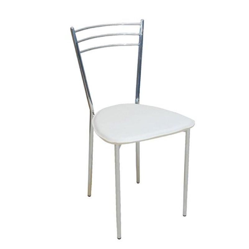 """Καρέκλα """"VALETTA """" χρωμίου-τεχνόδερμα σε λευκό χρώμα 40x41x81"""