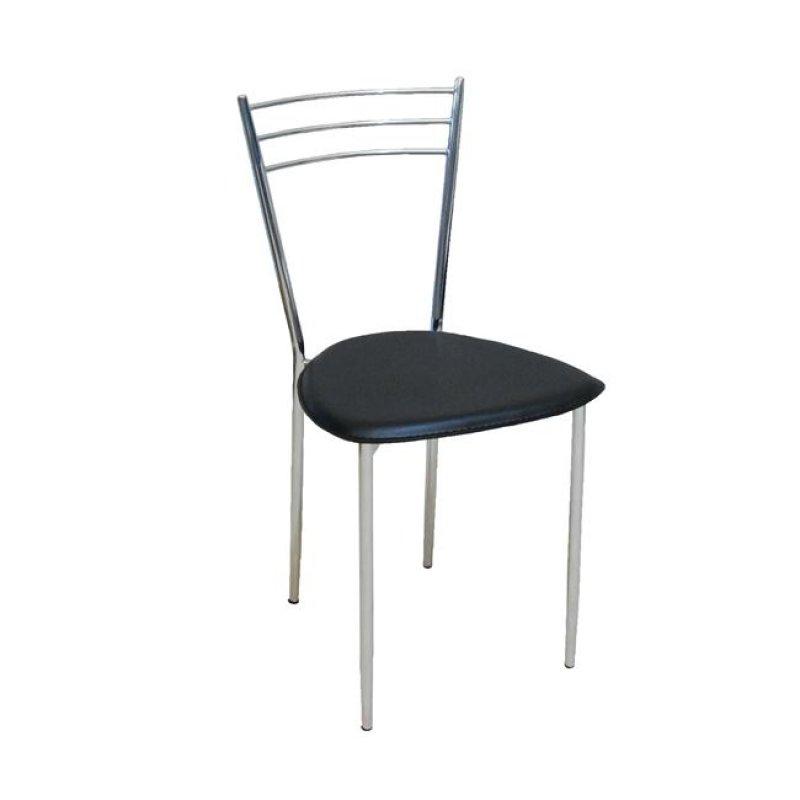 """Καρέκλα """"VALETTA """" χρωμίου-τεχνόδερμα σε μαύρο χρώμα 40x41x81"""