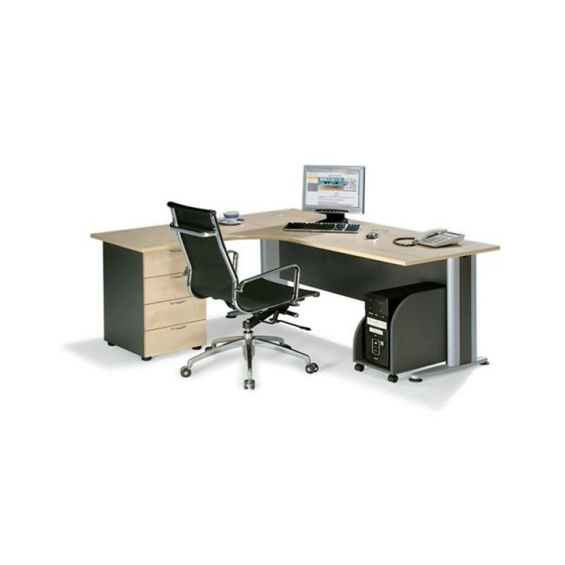 """Γραφείο """"SUPERIOR COMPACT"""" αριστερή γωνία σε χρώμα φυσικό/οξυά 180x70x75"""