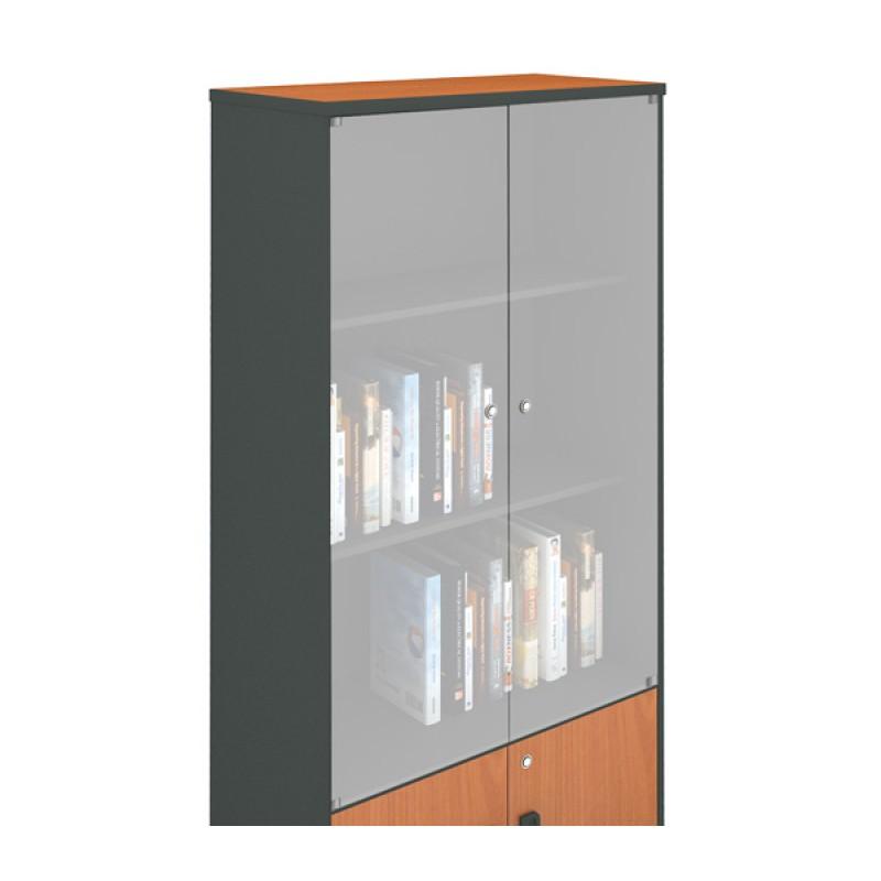 Βιβλιοθήκη με γυάλινες πόρτες σε χρώμα κερασί 80x41x206