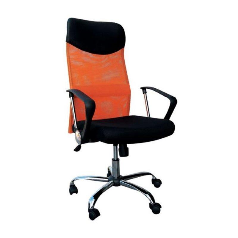 Πολυθρόνα διευθυντή από ύφασμα mesh και τεχνόδερμα σε πορτοκαλί-μαύρο χρώμα 61x63x110/120