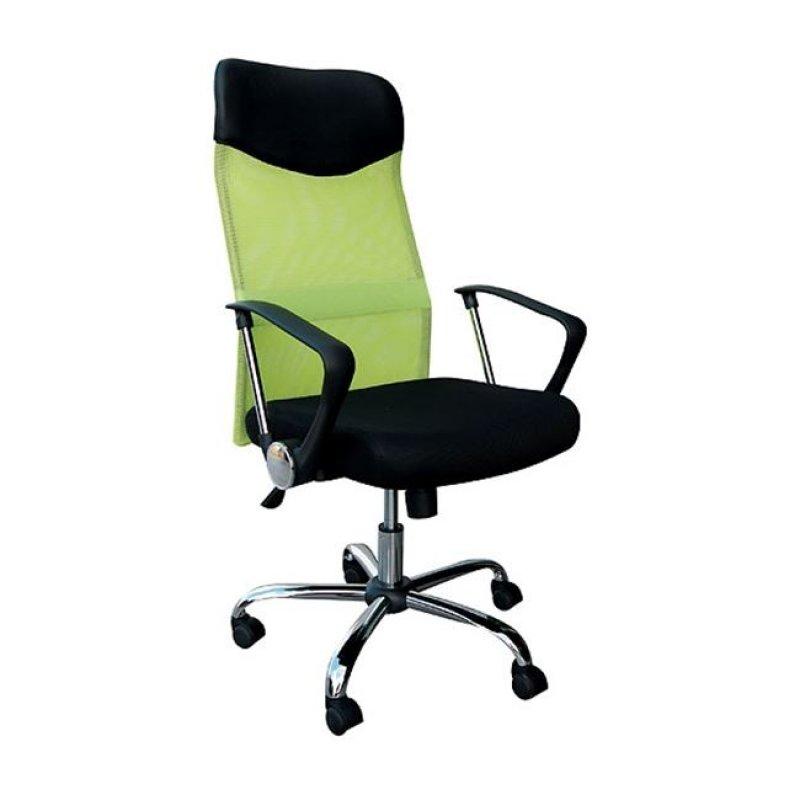 Πολυθρόνα διευθυντή από ύφασμα mesh και τεχνόδερμα σε πράσινο-μαύρο χρώμα 61x63x110/120