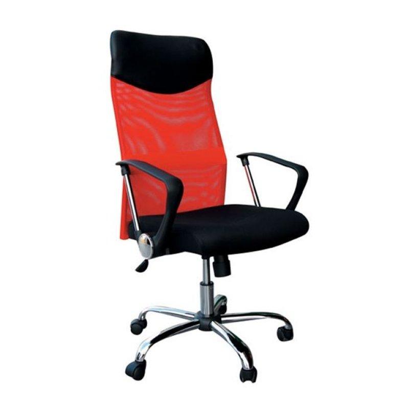 Πολυθρόνα διευθυντή από ύφασμα mesh και τεχνόδερμα σε κόκκινο-μαύρο χρώμα 61x63x110/120