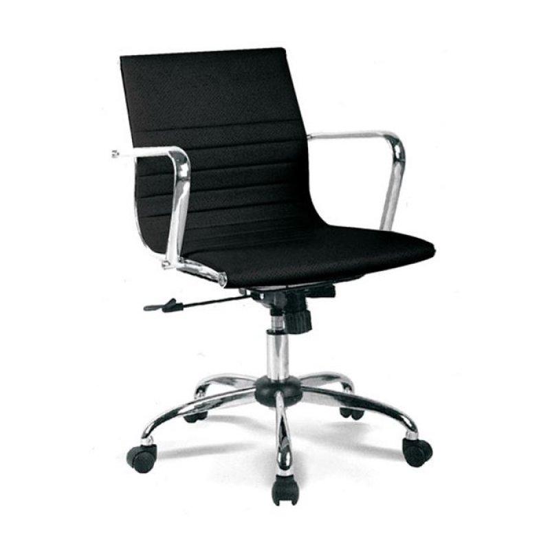 Πολυθρόνα εργασίας με χαμηλή πλάτη από τεχνόδερμα σε μαύρο χρώμα 54x52x87/95