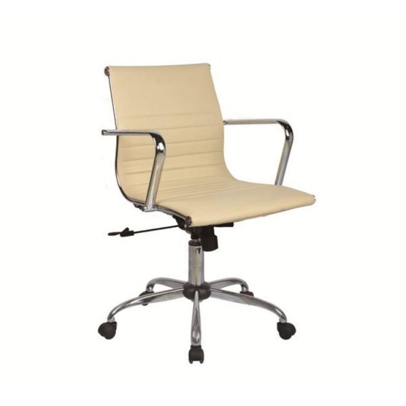 Πολυθρόνα εργασίας με χαμηλή πλάτη από τεχνόδερμα σε μπεζ χρώμα 54x52x87/95