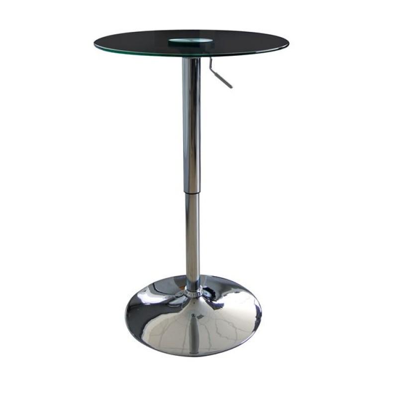 """Τραπέζι μπαρ """"LEVEL"""" μεταλλικό με επιφάνεια γυάλινη 60x68/96"""