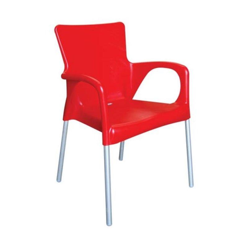 """Πολυθρόνα """"LARA"""" από πολυπροπυλένιο σε κόκκινο χρώμα 55x52x85"""