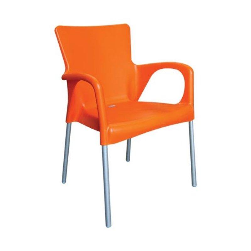 """Πολυθρόνα """"LARA"""" από πολυπροπυλένιο σε πορτοκαλί χρώμα 55x52x85"""
