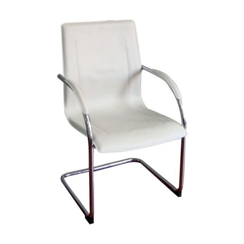 """Πολυθρόνα επισκέπτη """"OMIKRON"""" χρωμίου από τεχνόδερμα σε εκρού χρώμα 56x60x91"""