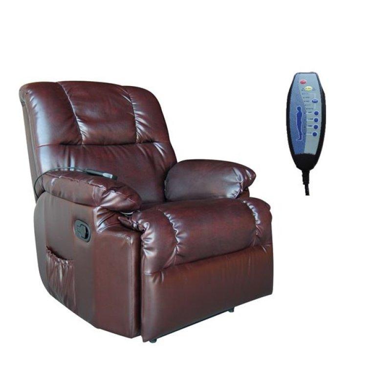 """Πολυθρόνα """"MASSAGE"""" από τεχνόδερμα σε σκούρο καφέ χρώμα 88x89x99"""