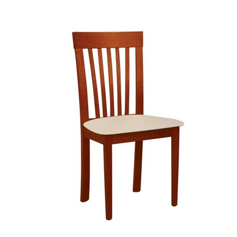 """Καρέκλα """"CORINA"""" ξύλινη-τεχνόδερμα σε χρώμα ανιγκρε-εκρού 46x54x95"""