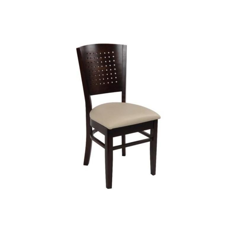 """Καρέκλα """"PRIME"""" ξύλινη-τεχνόδερμα σε χρώμα καρυδί-εκρού 42x42x90"""