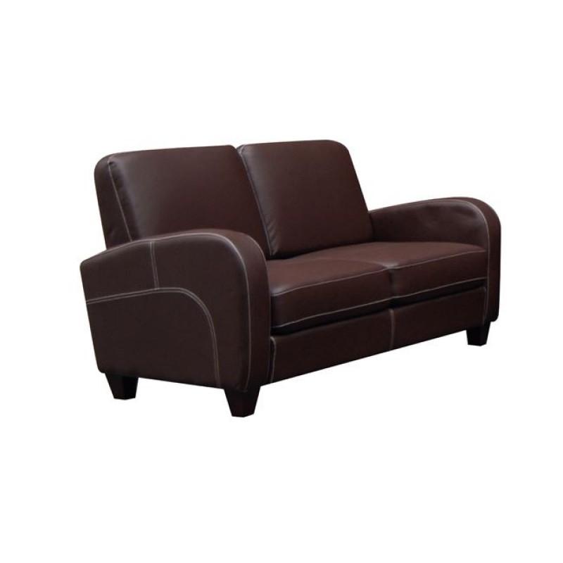"""Καναπές """"AVERO"""" διθέσιος από pu σε σκούρο καφέ χρώμα 147x80x83"""