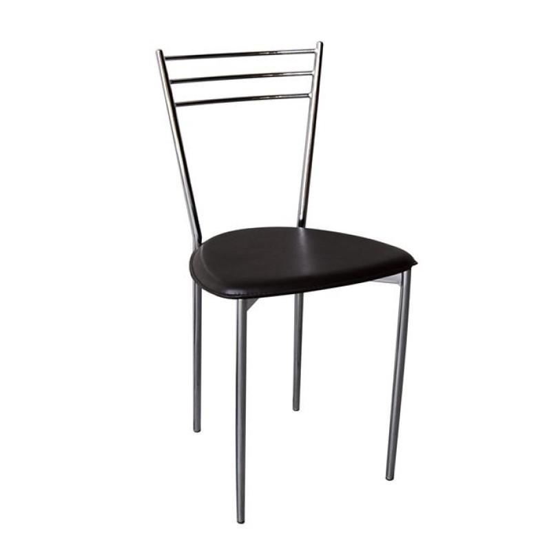 """Καρέκλα """"VALETTA """" χρωμίου-τεχνόδερμα σε καφέ χρώμα 40x41x81"""