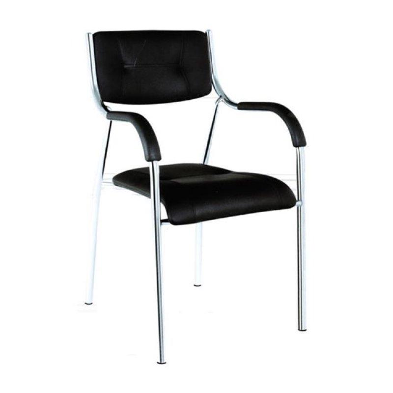 """Πολυθρόνα επισκέπτη """"ALPHA"""" χρωμίου από τεχνόδερμα σε χρώμα μαύρο 42x45x85"""
