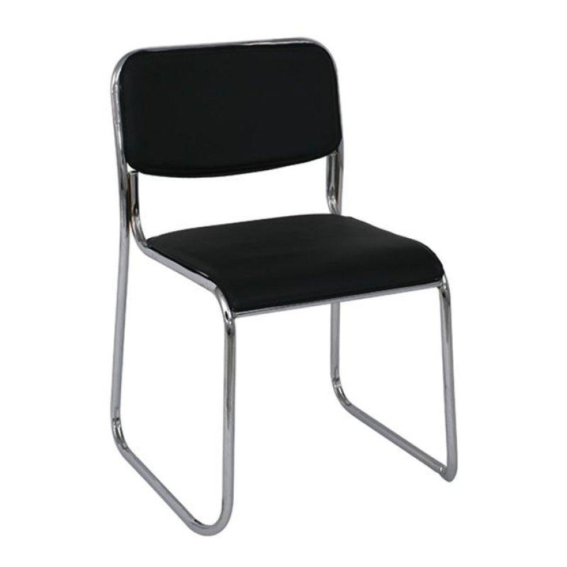 """Καρέκλα επισκέπτη """"CAMPUS"""" χρωμίου από τεχνόδερμα σε μαύρο χρώμα 44x43x77"""