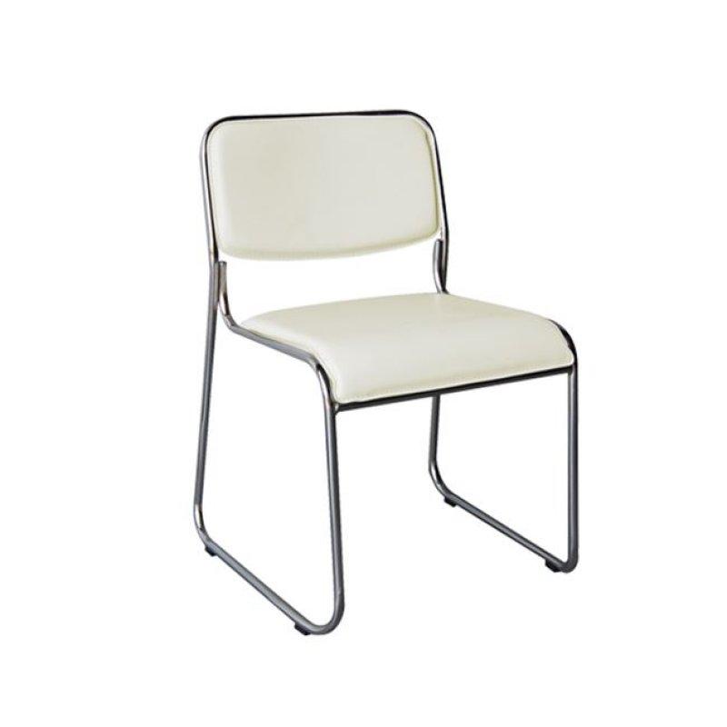 """Καρέκλα επισκέπτη """"CAMPUS"""" χρωμίου από τεχνόδερμα σε εκρού χρώμα 44x43x77"""