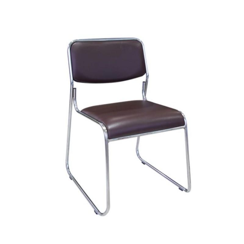 """Καρέκλα επισκέπτη """"CAMPUS"""" χρωμίου από τεχνόδερμα σε σκούρο καφέ χρώμα 44x43x77"""