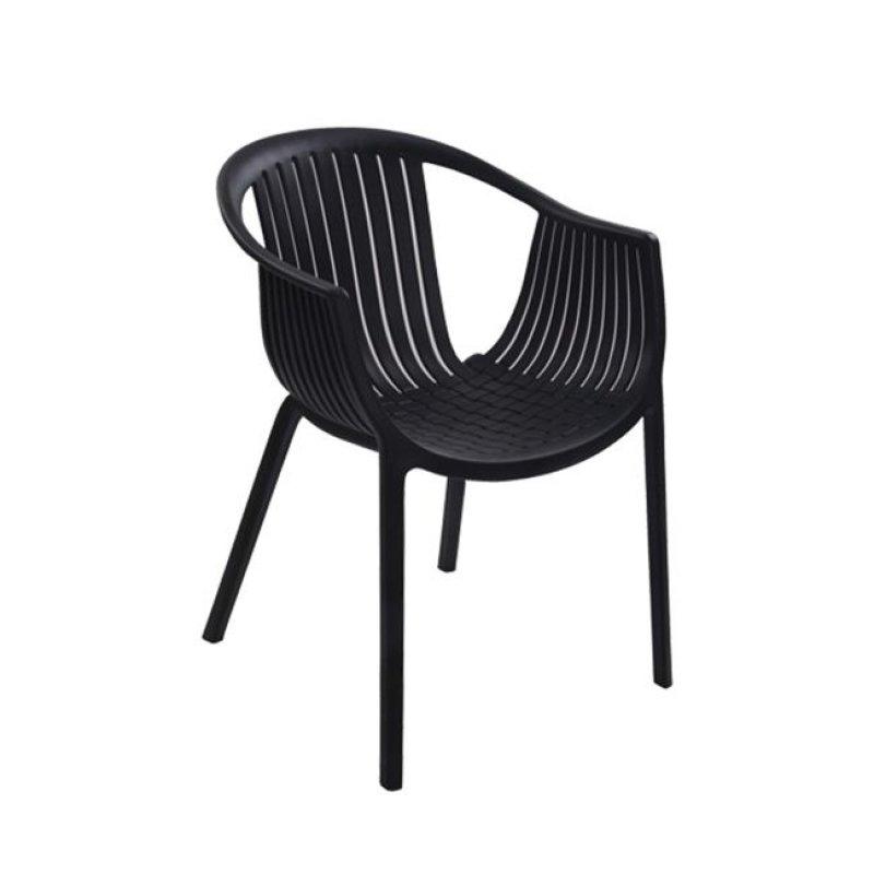 """Πολυθρόνα """"COLOMBO"""" από πολυπροπυλένιο σε μαύρο χρώμα 59x56x75"""