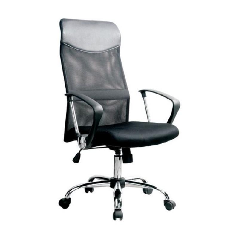 Πολυθρόνα διευθυντή από ύφασμα mesh και τεχνόδερμα σε μαύρο χρώμα 61x63x110/120
