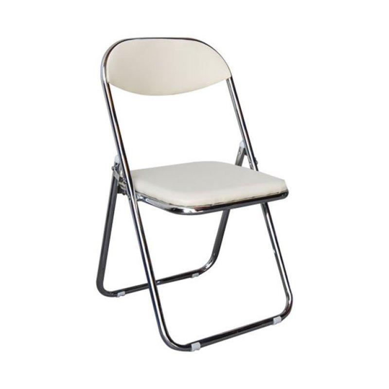 """Καρέκλα """"STAR"""" χρωμιού-τεχνόδερμα σε εκρού χρώμα 39x39x78"""