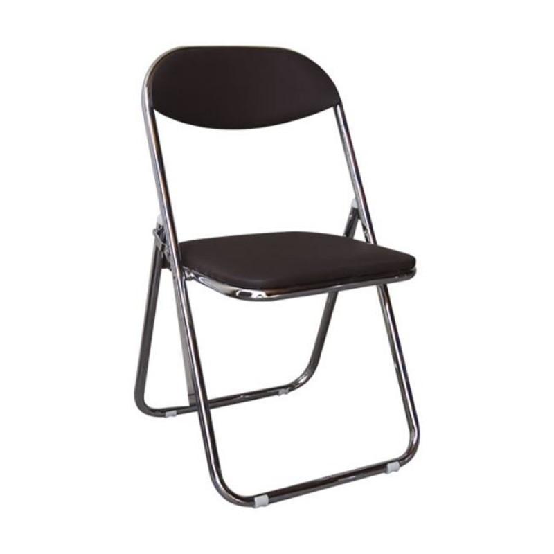 """Καρέκλα """"STAR"""" χρωμίου-τεχνόδερμα σε καφέ χρώμα 39x39x78"""