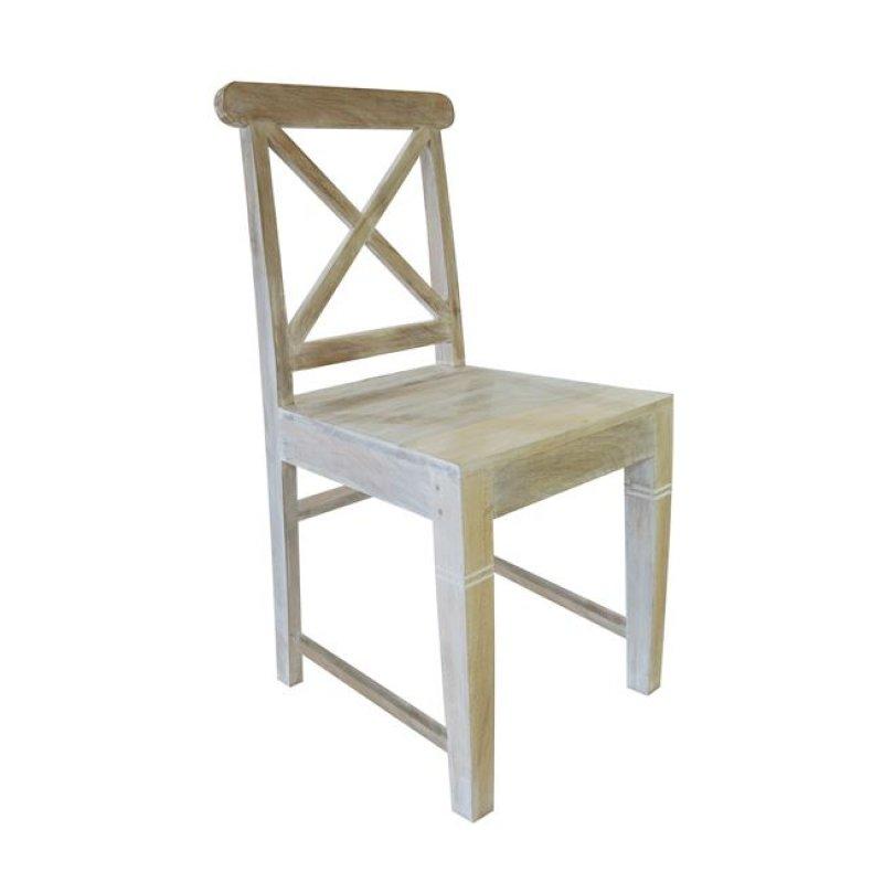 """Καρέκλα """"MAISON KIKA"""" ξύλινη σε αντικέ λευκό 46x50x94"""