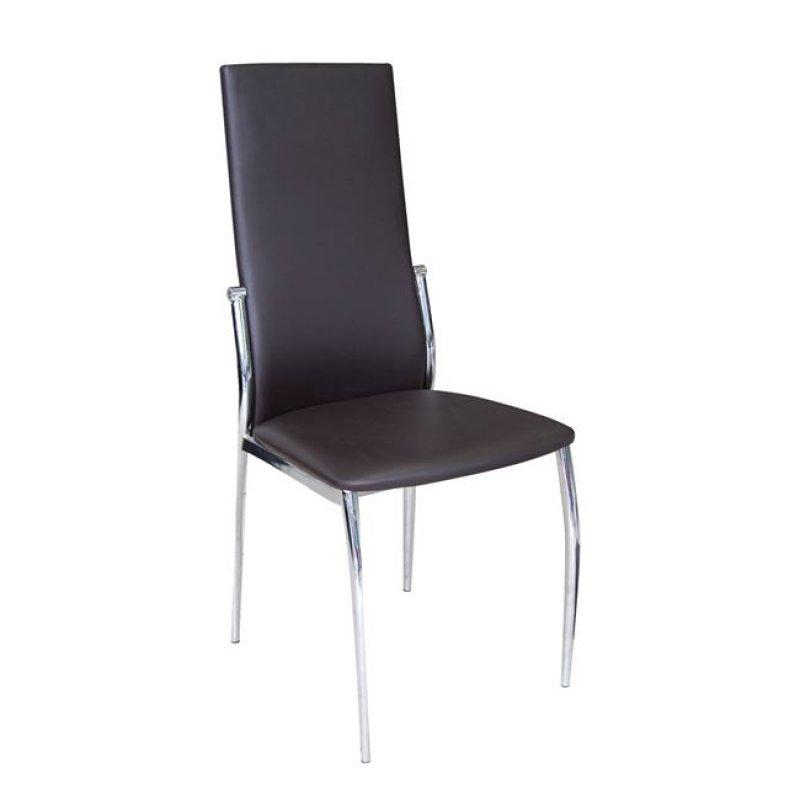 """Καρέκλα """"FRESH K/D"""" χρωμίου-τέχνοδερμα σε σκ. καφέ χρώμα 44x56x100"""