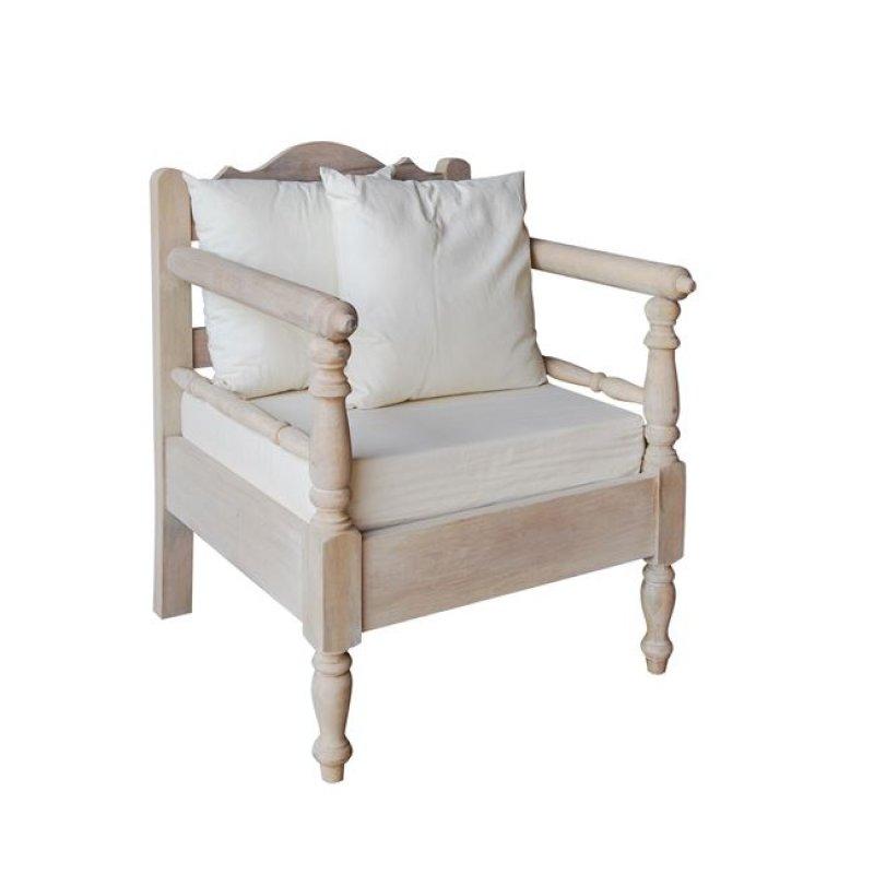 """Πολυθρόνα """"MAISON ΣΚΥΡΟΣ"""" ξύλινη σε αντικέ λευκό χρώμα 70x73x94"""