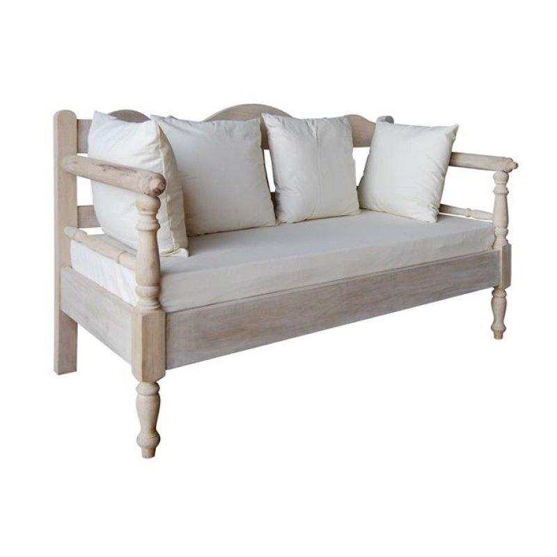 """Καναπές """"MAISON ΣΚΥΡΟΣ"""" διθέσιος σε χρώμα αντικέ λευκό 152x73x94"""