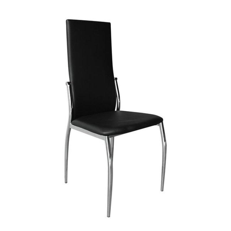 """Καρέκλα """"FRESH K/D"""" χρωμίου-τεχνόδερμα σε μαύρο χρώμα 44x56x100"""