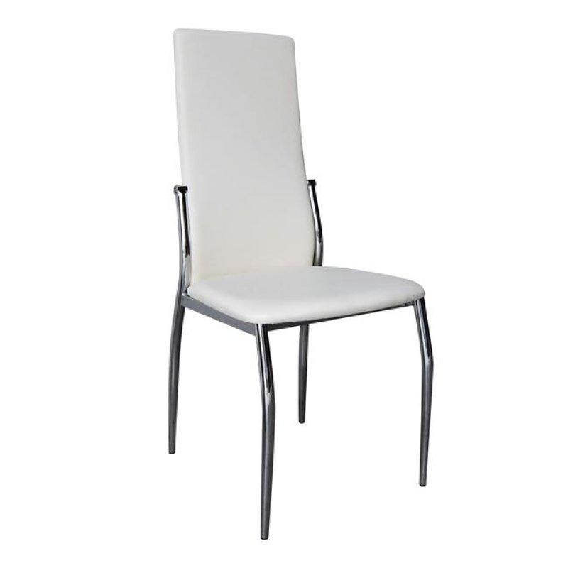 """Καρέκλα """"FRESH K/D"""" χρωμίου-τέχνοδερμα σε εκρού χρώμα 44x56x100"""